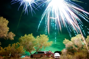 Zion, some sweet people having fun with shotguns and fireworks